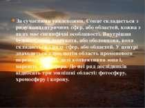 За сучасними уявленнями, Сонце складається з ряду концентричних сфер, або обл...
