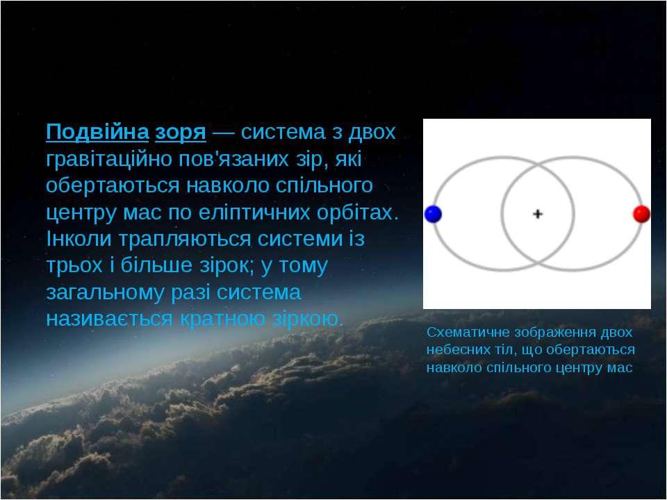 Подвійна зоря — система з двох гравітаційно пов'язаних зір, які обертаються н...