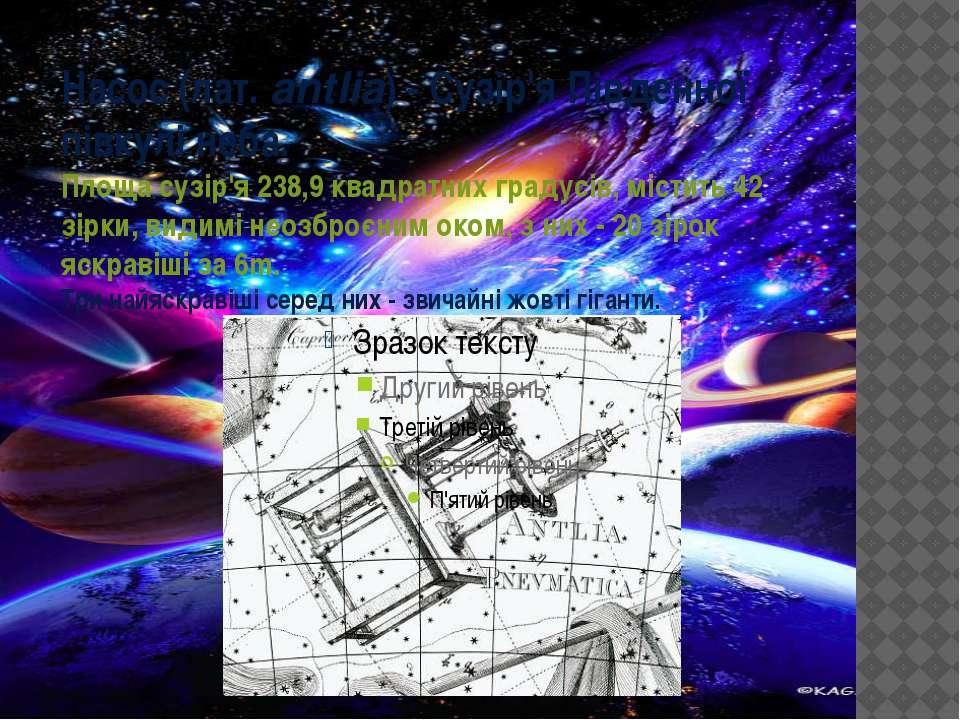 Насос(лат.antlia) - Сузір'я Південної півкулі неба. Площа сузір'я 238,9 ква...