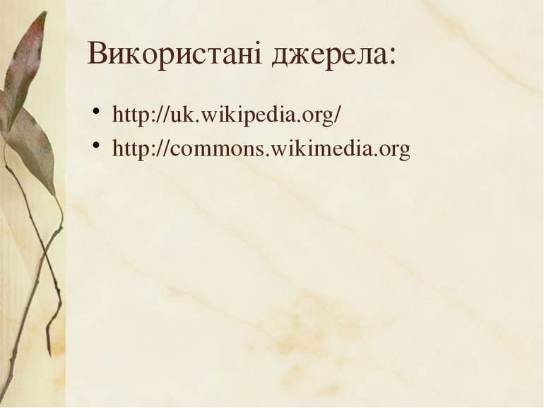Використані джерела: http://uk.wikipedia.org/ http://commons.wikimedia.org