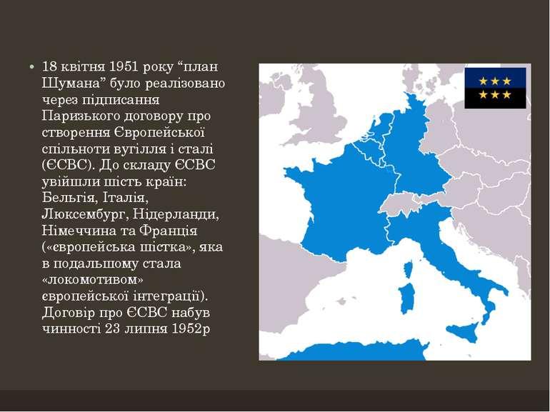 """18 квітня 1951 року """"план Шумана"""" було реалізовано через підписання Паризьког..."""