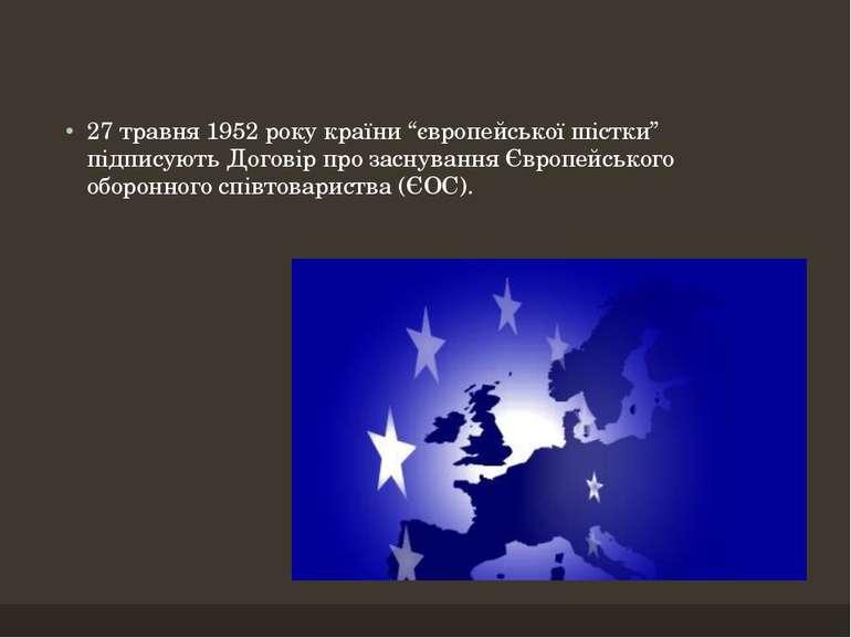 """27 травня 1952 року країни """"європейської шістки"""" підписують Договір про засну..."""