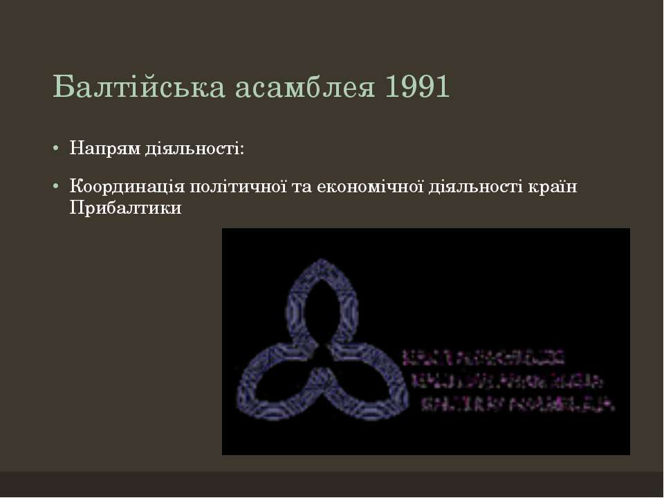 Балтійська асамблея 1991 Напрям діяльності: Координація політичної та економі...