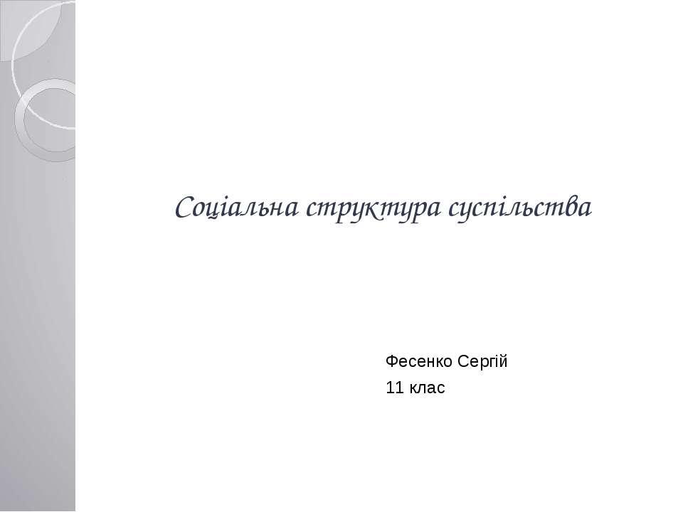 Соціальна структура суспільства Фесенко Сергій 11 клас