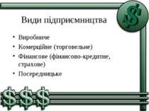Види підприємництва Виробниче Комерційне (торговельне) Фінансове (фінансово-к...
