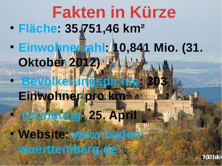 Fläche: 35.751,46 km² Einwohnerzahl: 10,841 Mio. (31. Oktober 2012) Bevölkeru...