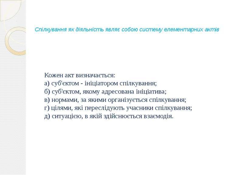 Спілкування як діяльність являє собою систему елементарних актів Кожен акт ви...