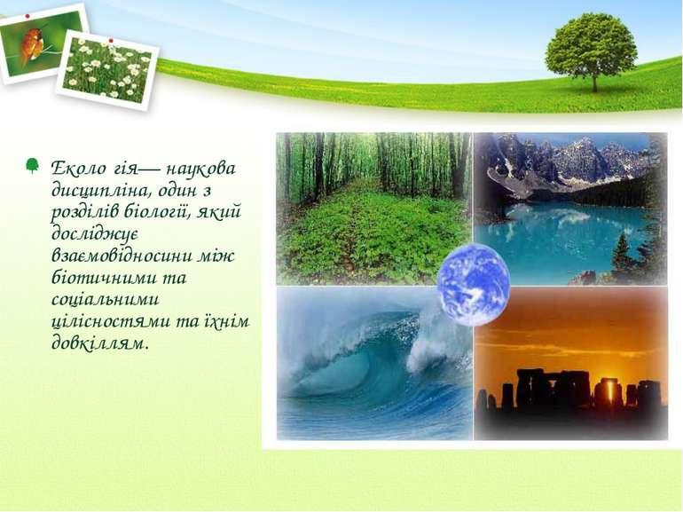 Еколо гія— наукова дисципліна, один з розділів біології, який досліджує взаєм...