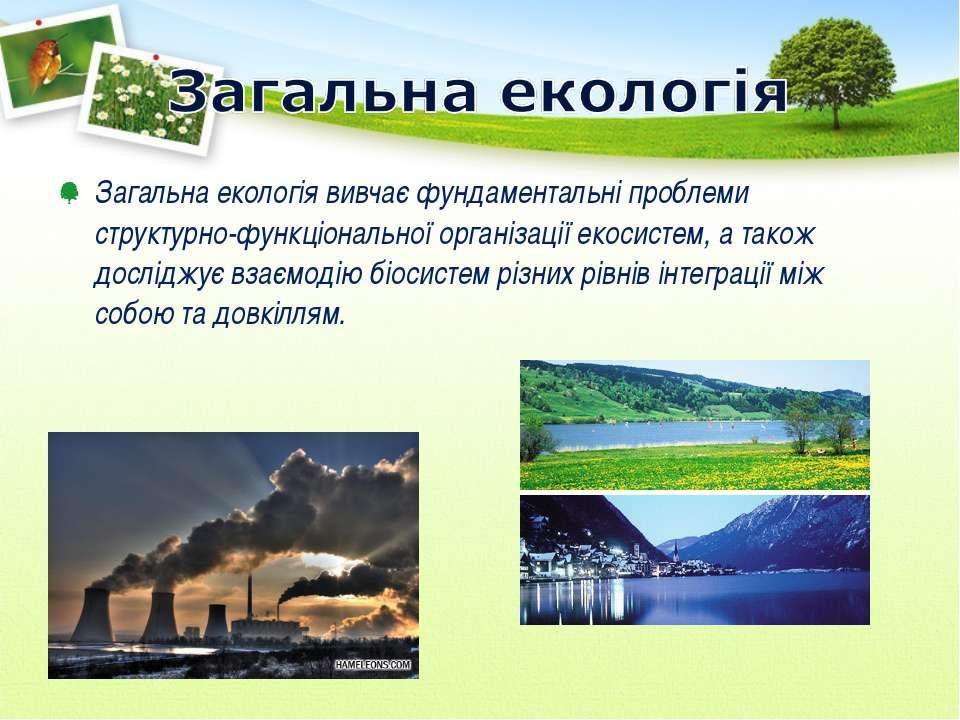 Загальна екологія вивчає фундаментальні проблеми структурно-функціональної ор...