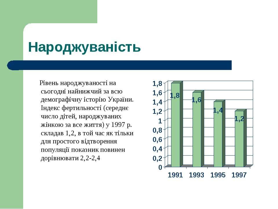 Народжуваність Рівень народжуваності на сьогодні найнижчий за всю демографічн...