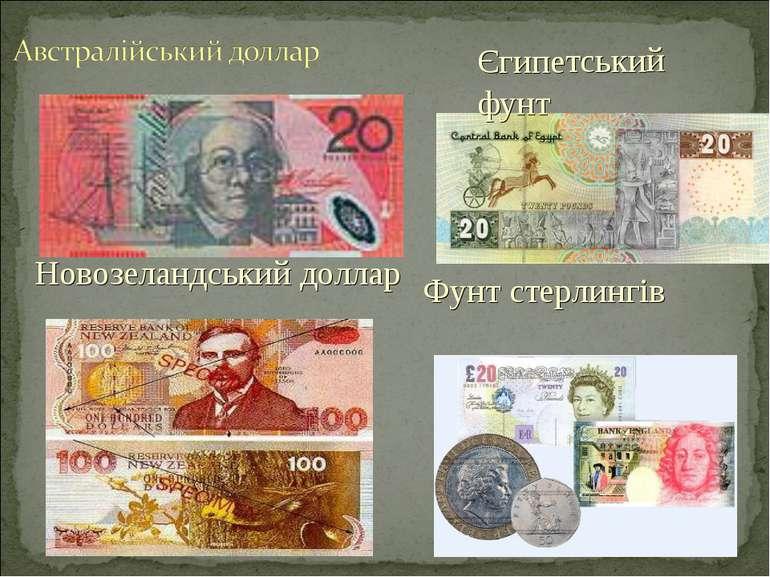 Новозеландський доллар Єгипетський фунт Фунт стерлингів