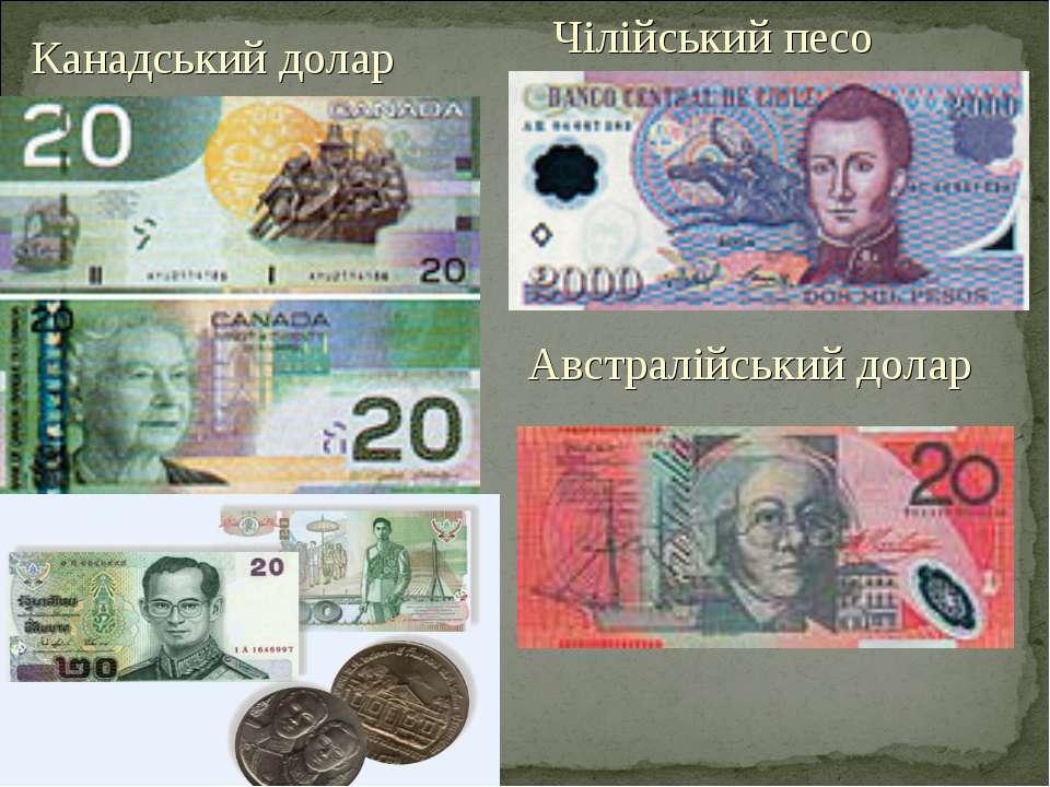 Канадський долар Чілійський песо Австралійський долар
