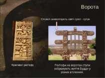 Рел'єфи на воротах ступи зображують життя Будди у різних втіленнях. Фрагмент ...