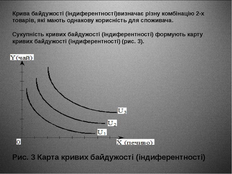 Крива байдужості (індиферентності)визначає різну комбінацію 2-х товарів, які ...