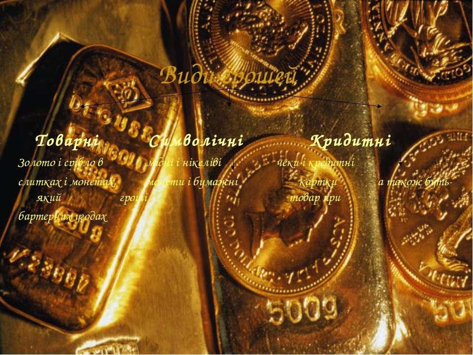 Види грошей Товарні Символічні Кридитні Золото і срібло в мідні і нікеліві че...