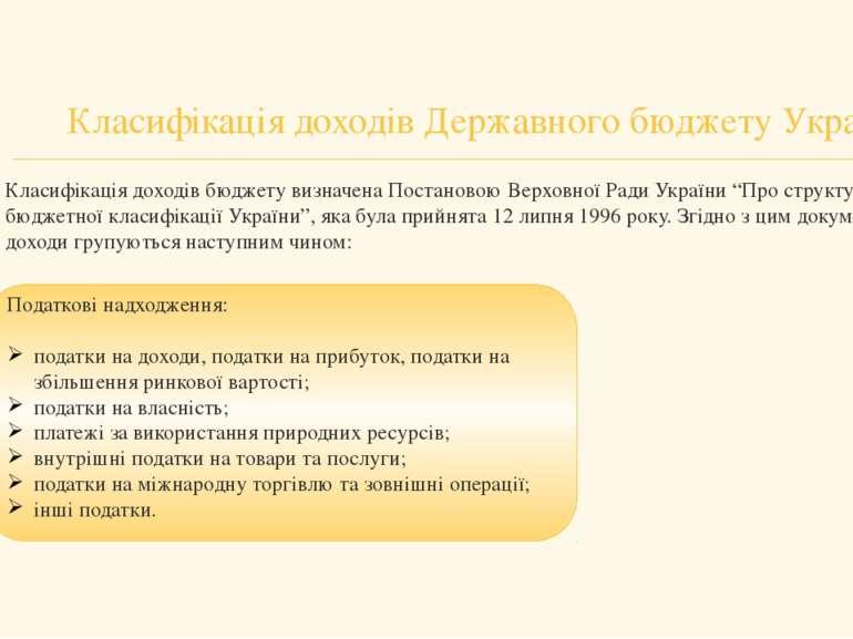 Класифікація доходів Державного бюджету України Класифікація доходів бюджету ...