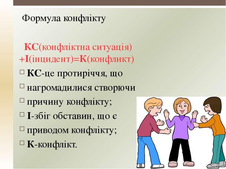 Формула конфлікту КС(конфліктна ситуація)+І(інцидент)=К(конфликт) КС-це проти...