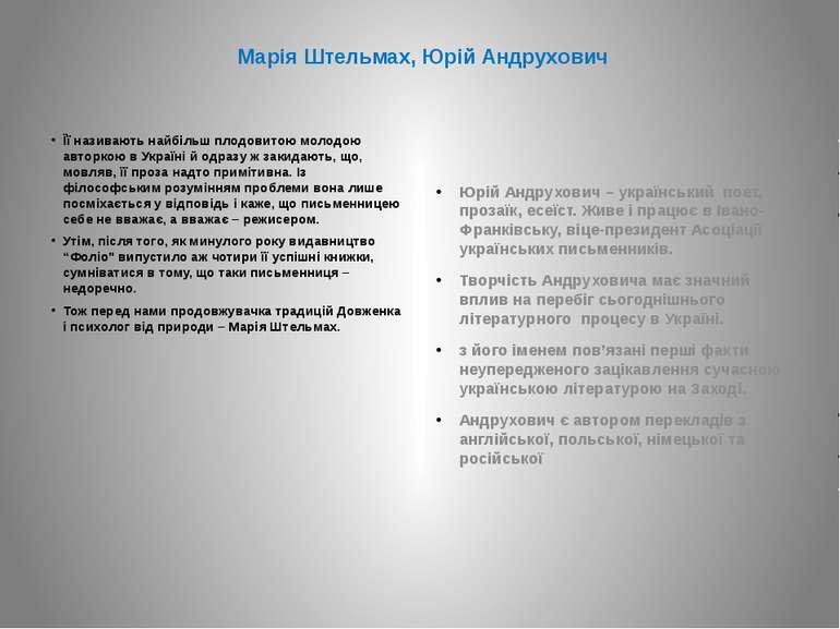 Марія Штельмах, Юрій Андрухович Її називають найбільш плодовитою молодою авто...