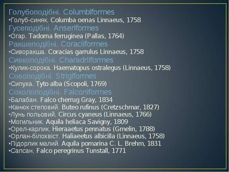 Голубоподібні. Columbiformes Голуб-синяк. Columba oenas Linnaeus, 1758 Гусепо...