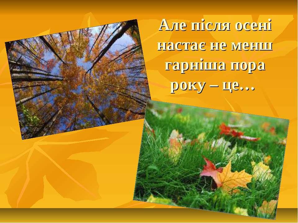 Але після осені настає не менш гарніша пора року – це…