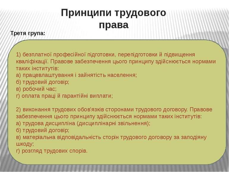 Принципи трудового права Третя група: 1) безплатної професійної підготовки, п...