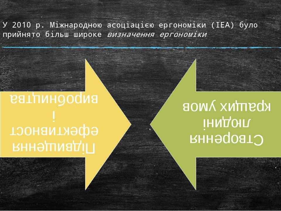 У 2010 р. Міжнародною асоціацією ергономіки (ІЕА) було прийнято більш широке ...