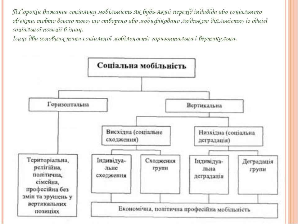 П.Сорокін визначає соціальну мобільність як будь-який перехід індивіда або со...