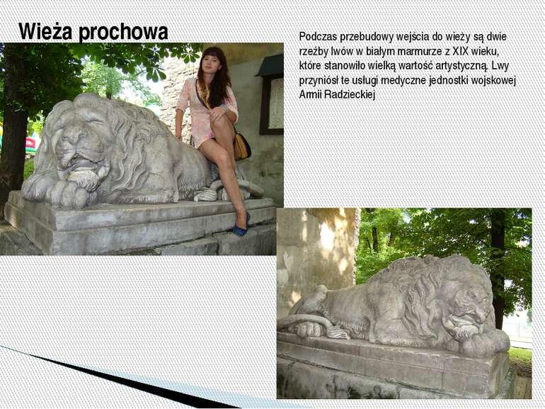 Podczas przebudowy wejścia do wieży są dwie rzeźby lwów w białym marmurze z X...