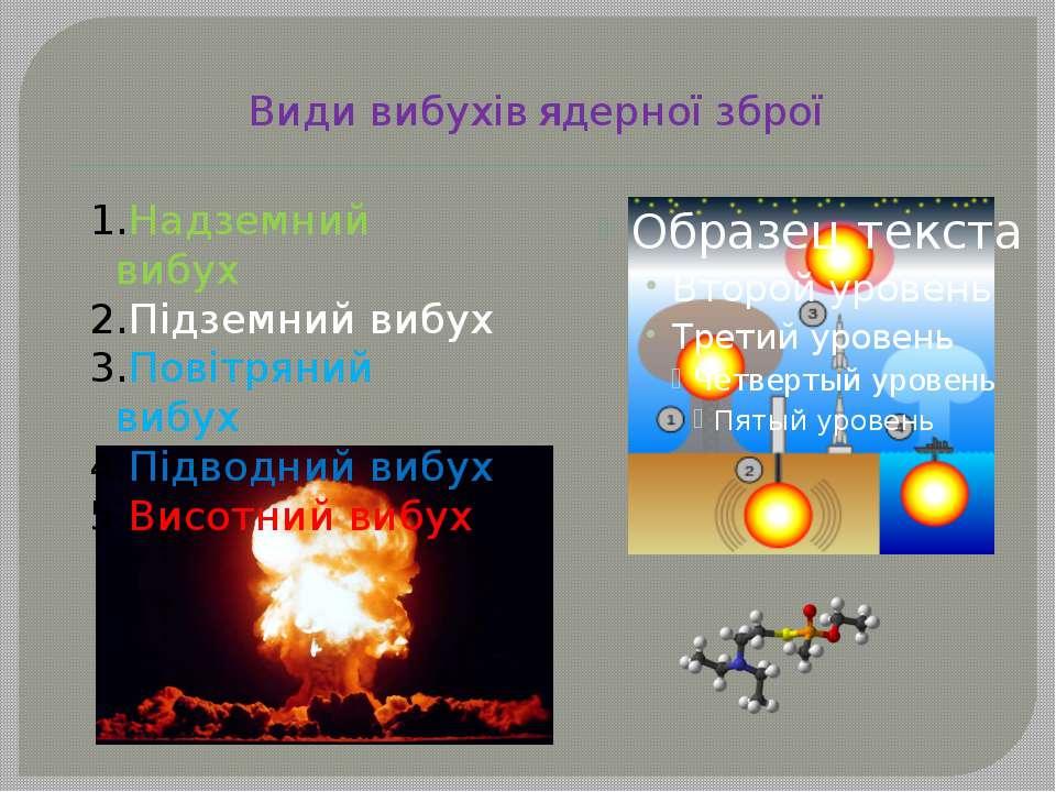 Види вибухів ядерної зброї Надземний вибух Підземний вибух Повітряний вибух П...