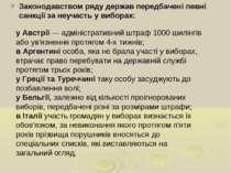 Законодавством ряду держав передбачені певні санкції за неучасть у виборах: у...