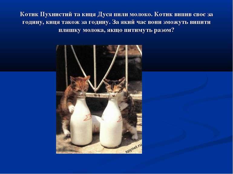 Котик Пухнистий та киця Дуся пили молоко. Котик випив своє за годину, киця та...