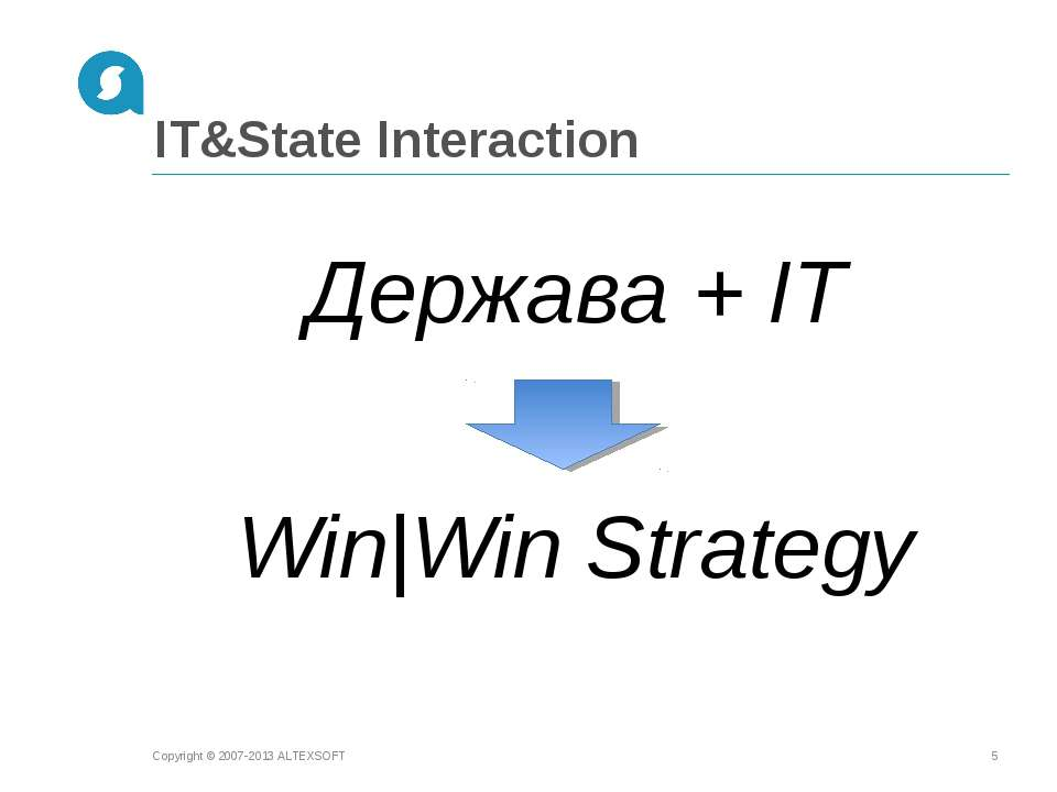 IT&State Interaction Держава + IT Win|Win Strategy Copyright © 2007-2013 ALTE...