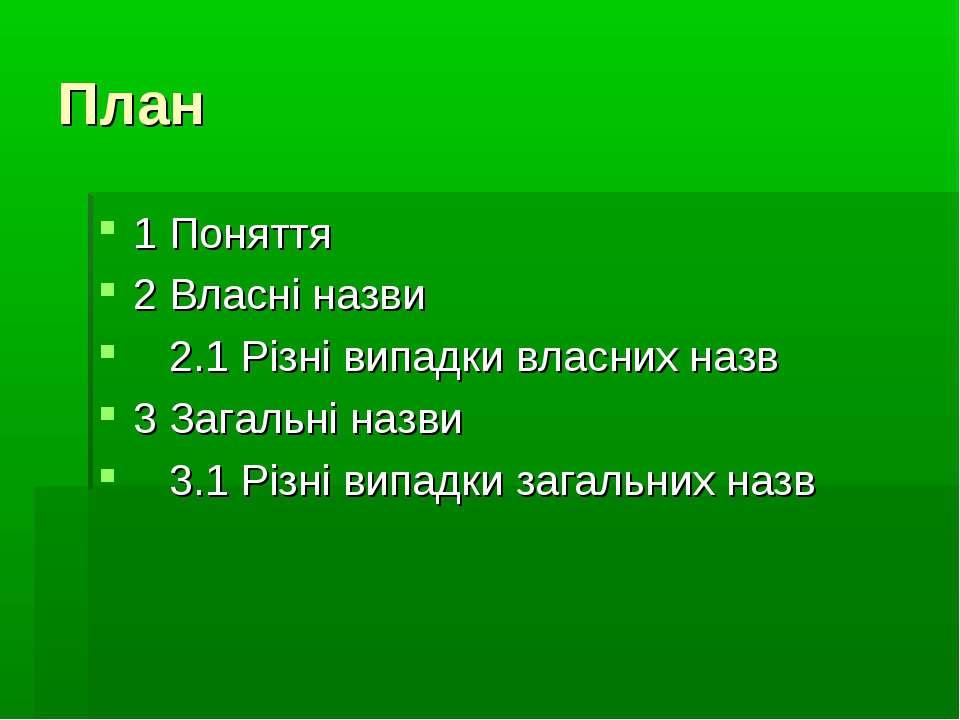План 1 Поняття 2 Власні назви 2.1 Різні випадки власних назв 3 Загальні назви...