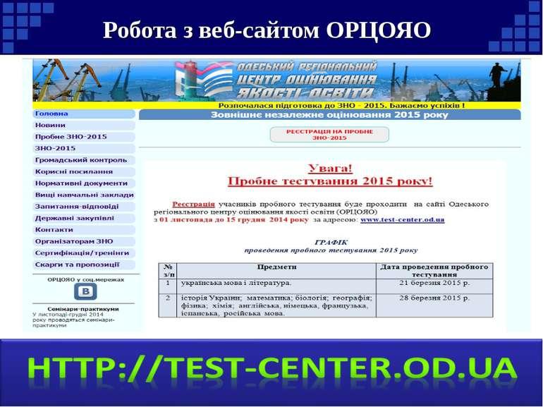 Робота з веб-сайтом ОРЦОЯО