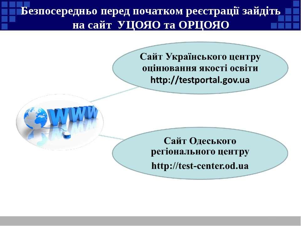 Безпосередньо перед початком реєстрації зайдіть на сайт УЦОЯО та ОРЦОЯО