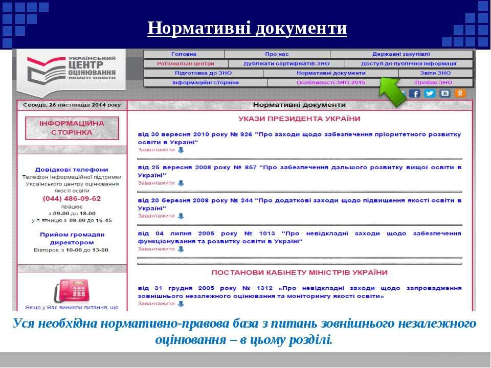 Нормативні документи Уся необхідна нормативно-правова база з питань зовнішньо...