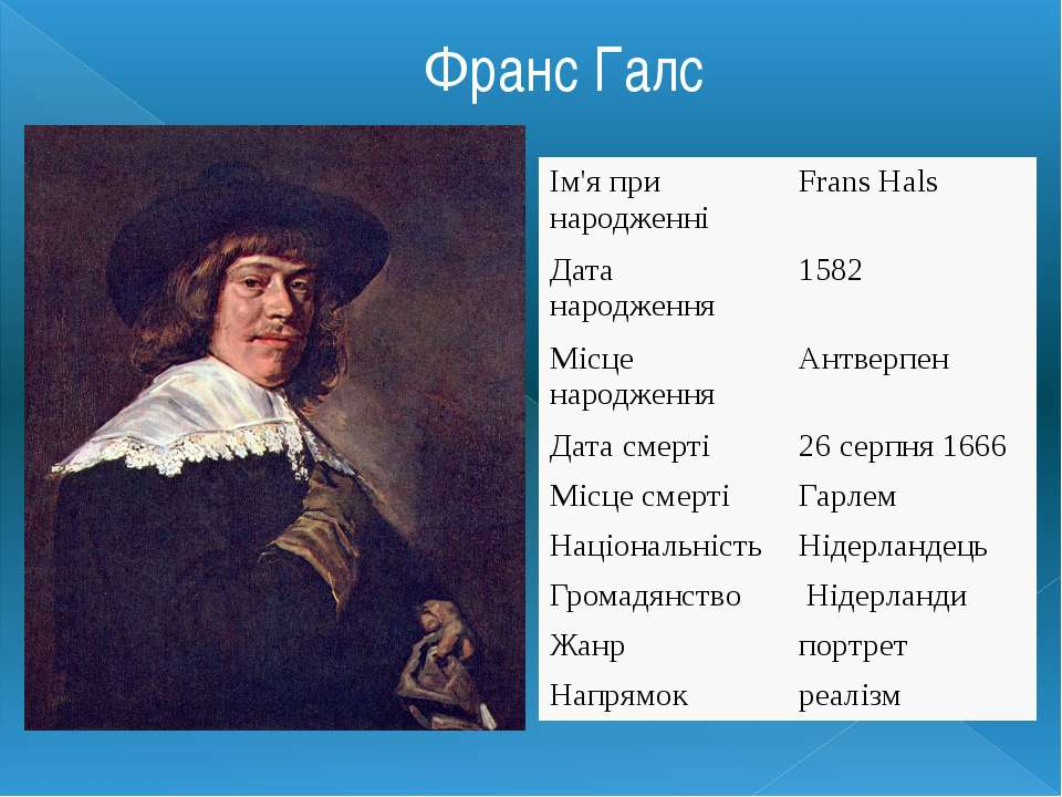 Франс Галс Ім'я при народженні Frans Hals Дата народження 1582 Місце народжен...