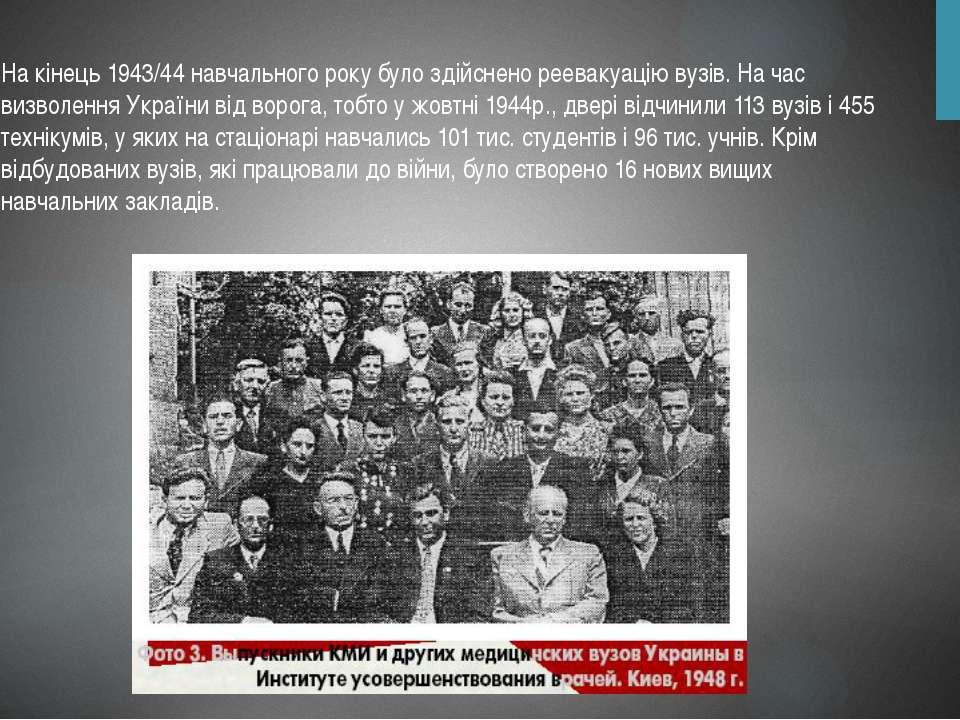 На кінець 1943/44 навчального року було здійснено реевакуацію вузів. На час в...