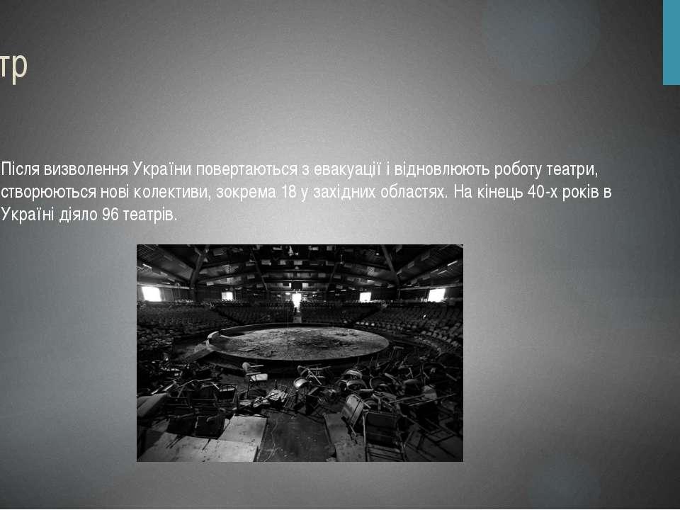 Театр Після визволення України повертаються з евакуації і відновлюють роботу ...