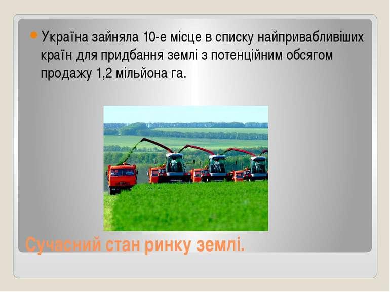 Сучасний стан ринку землі. Україна зайняла 10-е місце в списку найпривабливіш...