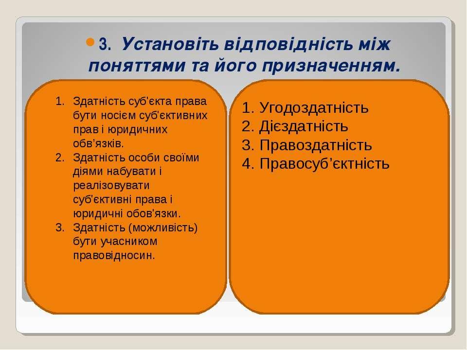 3. Установіть відповідність між поняттями та його призначенням. Здатність суб...
