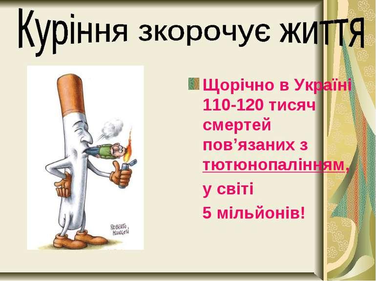 Щорічно в Україні 110-120 тисяч смертей пов'язаних з тютюнопалінням, у світі ...