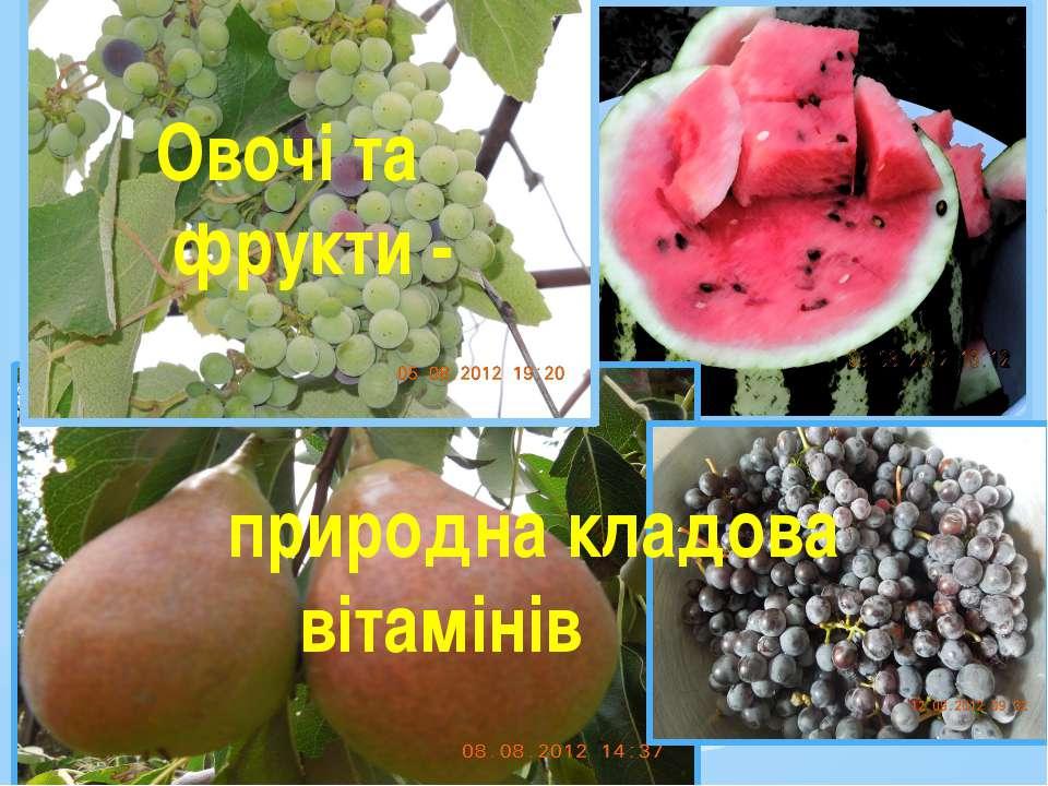 Овочі та фрукти - природна кладова вітамінів