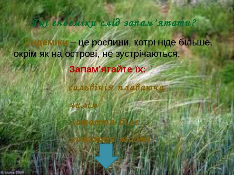 Які ендеміки слід запам'ятати? Ендеміки – це рослини, котрі ніде більше, окрі...