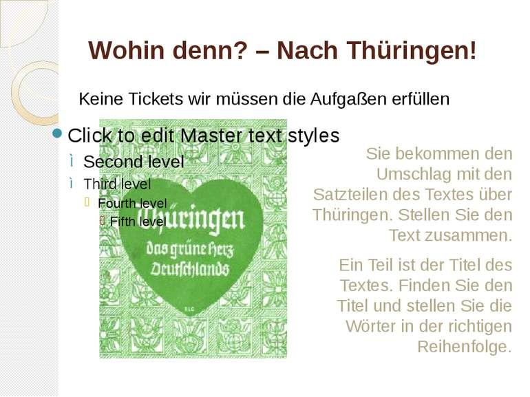 Wohin denn? – Nach Thüringen! Sie bekommen den Umschlag mit den Satzteilen de...