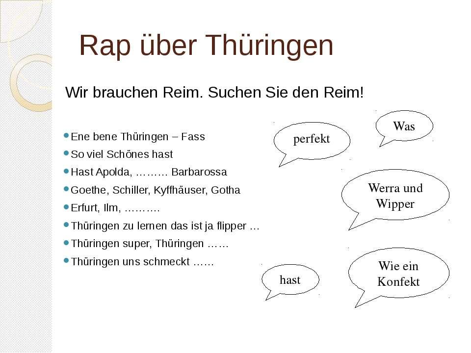 Rap über Thüringen Ene bene Thüringen – Fass So viel Schönes hast Hast Apolda...