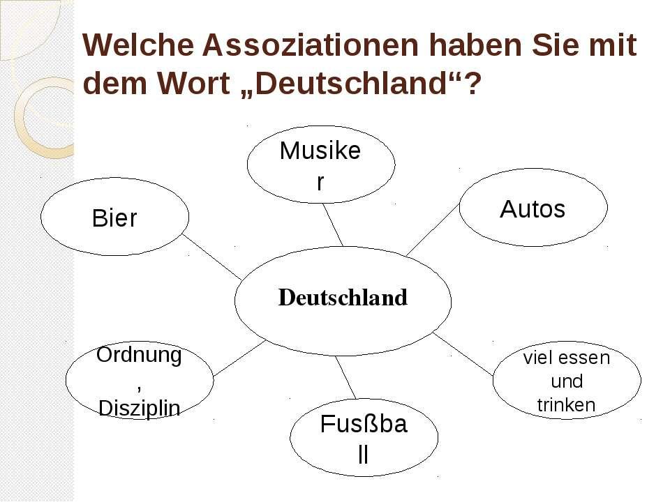 """Welche Assoziationen haben Sie mit dem Wort """"Deutschland""""? Deutschland Autos ..."""