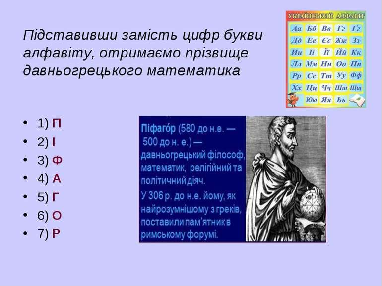 Підставивши замість цифр букви алфавіту, отримаємо прізвище давньогрецького м...