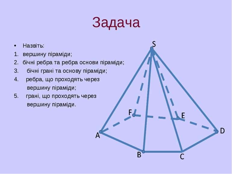Задача Назвіть: вершину піраміди; бічні ребра та ребра основи піраміди; 3. бі...
