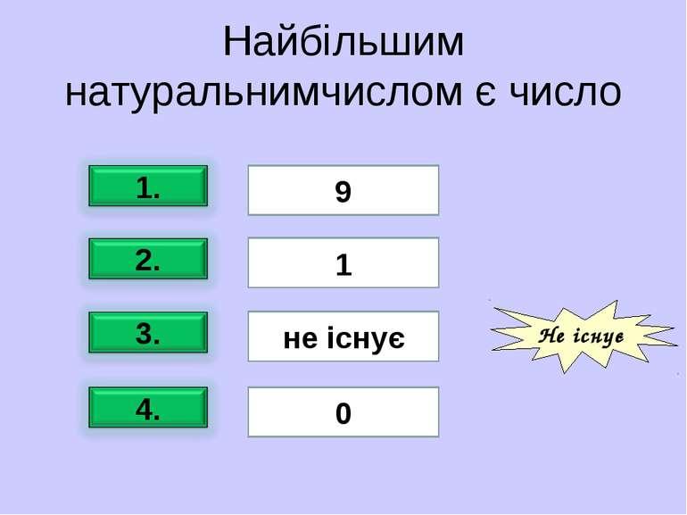 Найбільшим натуральнимчислом є число 9 1 не існує 0 Не існує